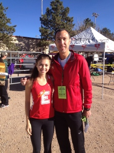 Senior and team captain Isa Marshall and Coach Kohuth before girls 5A race.