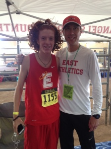 Sophomore Harrison Scudamore and Coach Kohuth before boys 5A race